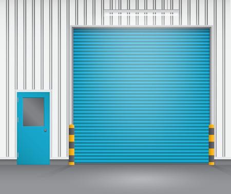 Illustration of shutter door and steel door outside factory, blue color. Vector