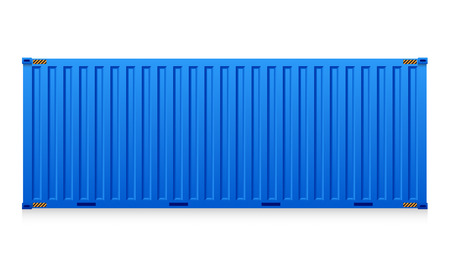 白い背景に分離された貨物コンテナーのイラスト。  イラスト・ベクター素材