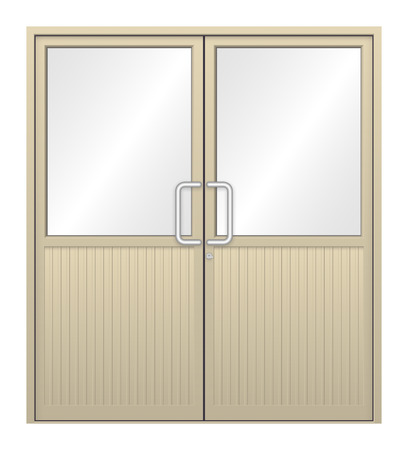 Illustration of aluminium door on white background. Vector