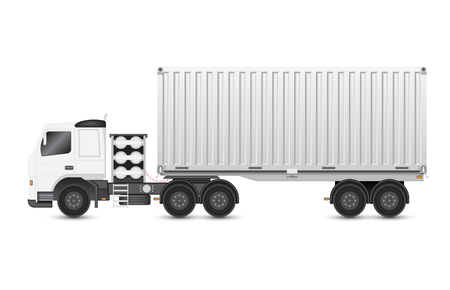 wheeler: Illustration of trailer and container on white background.