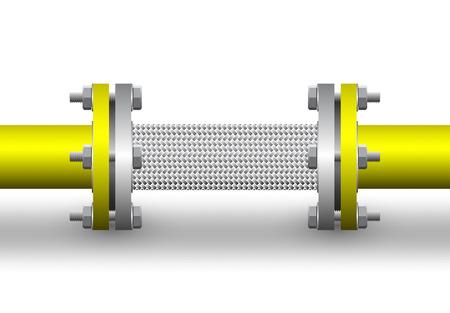 分離したスチール パイプ背景の柔軟なコネクタです。