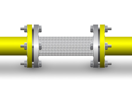 stud: Flexible connector of steel pipe isolated background.