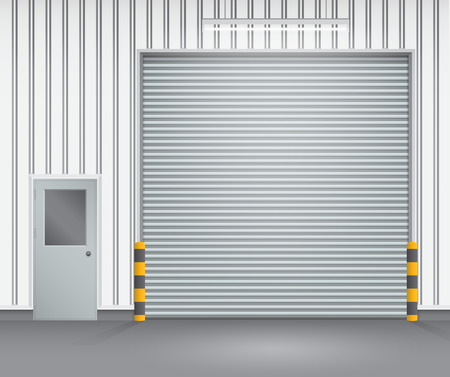 Illustration of shutter door and steel door outside factory, gray color. Illustration