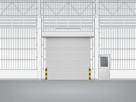 siding: Illustration of shutter door and steel door inside factory, gray color. Illustration
