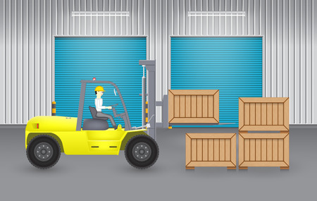 outside the box: Forklift and wood crate with factory background. Illustration