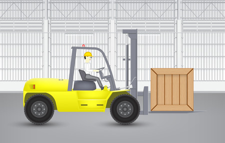 Forklift and wood crate with factory background. Illustration