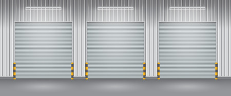 shop floor: Exterior of factory with shutter door, night time.