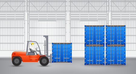Forklift and container with factory background. photo
