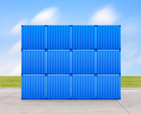 prefabricated: Container with sky background. Stock Photo