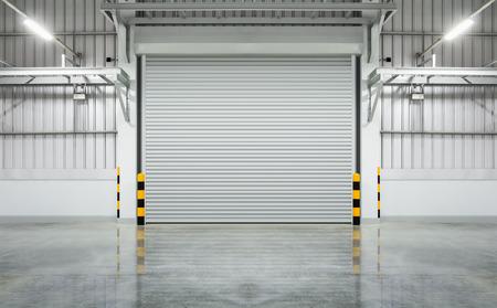 garage door: Shutter door or rolling door gray color, night scene.