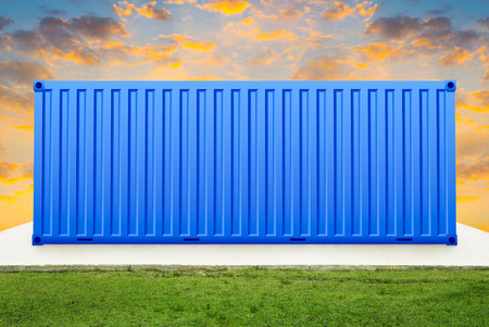 prefabricated: Container on concrete pedestal with sky background. Stock Photo