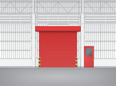 steel door: Illustration of shutter door and steel door inside factory, red color. Illustration