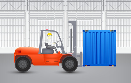 Forklift and container with factory background. Vector