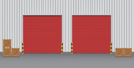 Exterior of factory with shutter door, night time. Vector