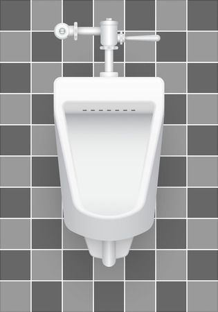 urination: Illustration of urinal on ceramics tile background.