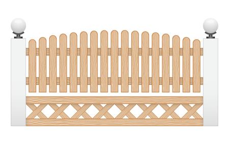 Illustration of wood fence isolated on white background. Vector