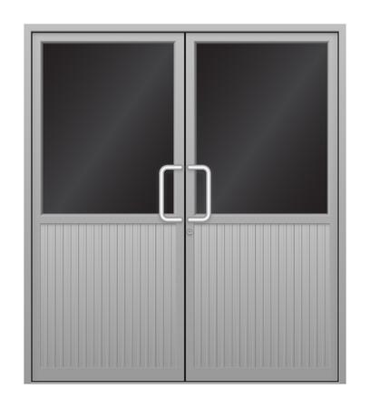 nickle: Illustration of aluminium door on white background. Illustration