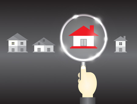 home search: Home model and magnifier on dark background. Illustration