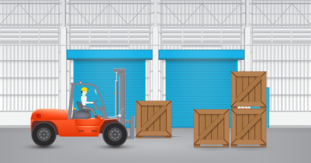 Forklift and wood crate with factory background. Vector