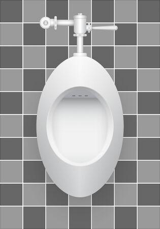 push room: Illustration of urinal on ceramics tile background.