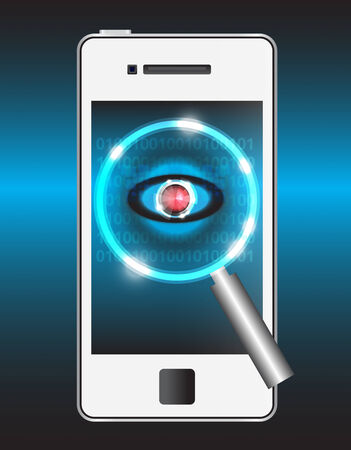 hack: Magnifier and virus data in smartphone.