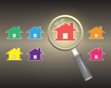 inspection: Home model and magnifier on dark background. Stock Photo