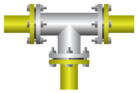 Three way connector of steel pipe on white background.