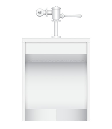 urinal: Illustration of urinal and flush valve on white background.