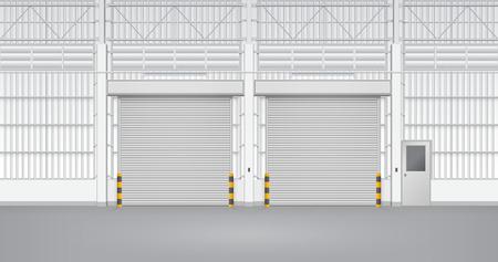 Illustration of shutter door and steel door inside factory, gray color. Vector