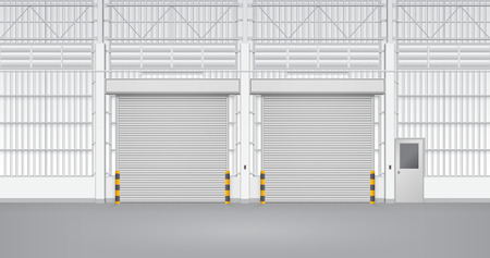 Illustration of shutter door and steel door inside factory, gray color. Illustration
