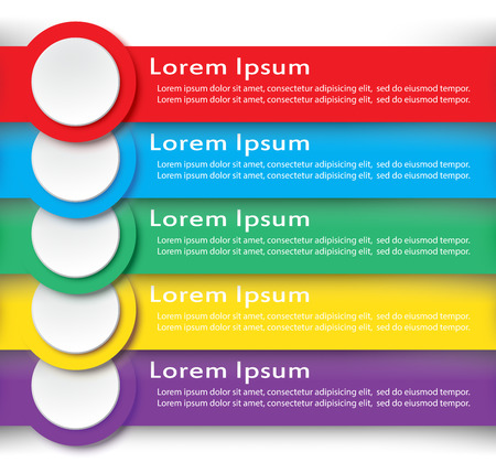 Set of infographic with colorful of paper on white background. Vector