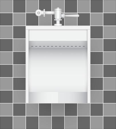 push room: Illustration of urinal on ceramic tile background.