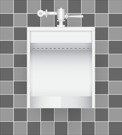 urination: Illustration of urinal on ceramic tile background.