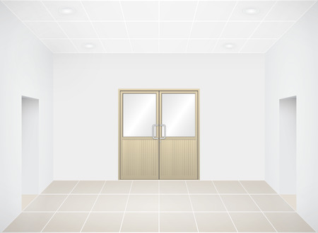 room door: Illustration of aluminium door in empty room. Illustration