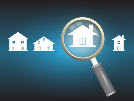 properties: Home model and magnifier on dark background. Illustration