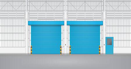 Illustration of shutter door and steel door inside factory, blue color. Vector