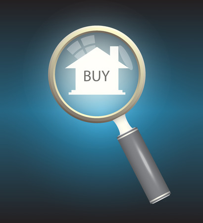 quality home: Home model and magnifier on dark background. Illustration