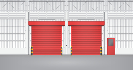 guard house: Illustration of shutter door and steel door inside factory, red color. Illustration