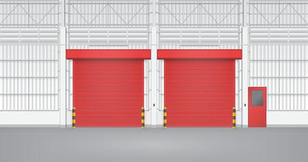 Illustration of shutter door and steel door inside factory, red color. Vector