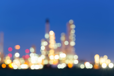 gas ball: Bokeh of oil refinery at twilight.
