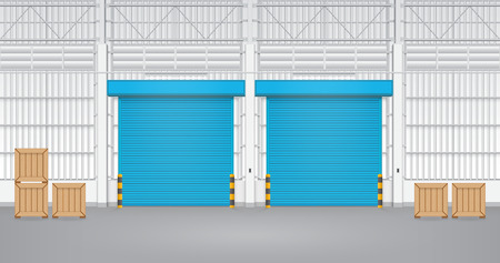 Illustration of shutter door inside factory, blue color. illustration