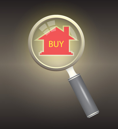 model home: Home model and magnifier on dark background. Illustration