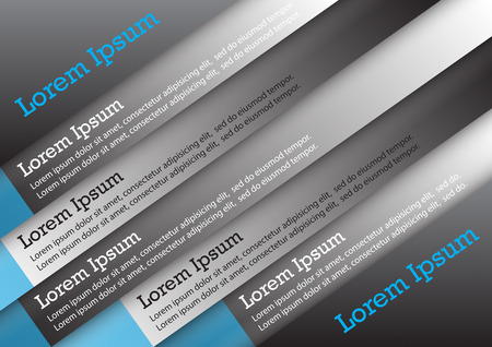 Set of infographic, black and blue color. Vector