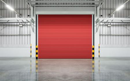 Shutter door or rolling door red color, night scene. photo