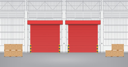 Illustration of shutter door inside factory, blue color. Vector