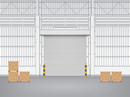 empty warehouse: Illustration of factory with shutter door.