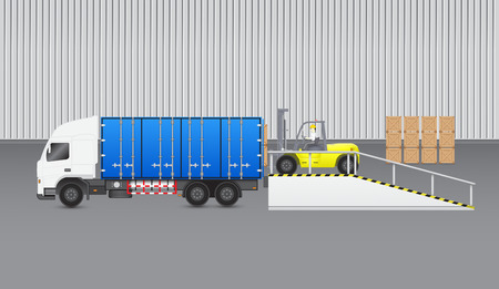 ramp: Forklift transfer wood crate into truck with factory background. Illustration