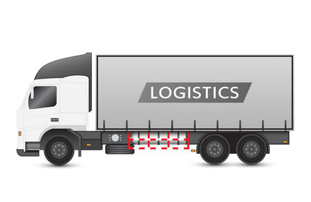 Illustration of truck and container on white background. Vector