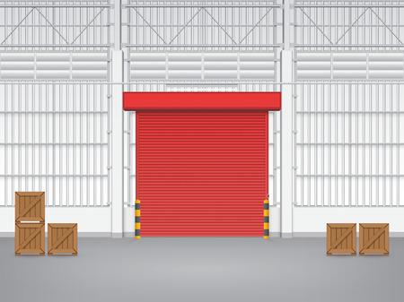 Illustration of factory with shutter door. Vector