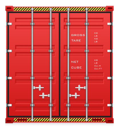 red door: Illustration of cargo container isolated on white background.
